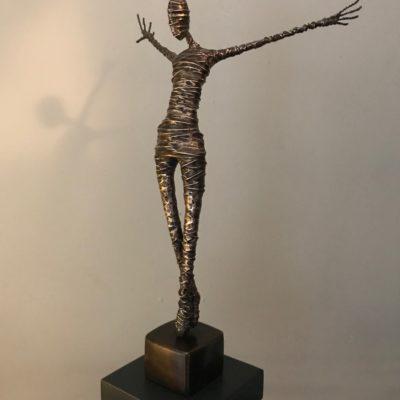 bronze figure lockbund rachel ducker sculpture art