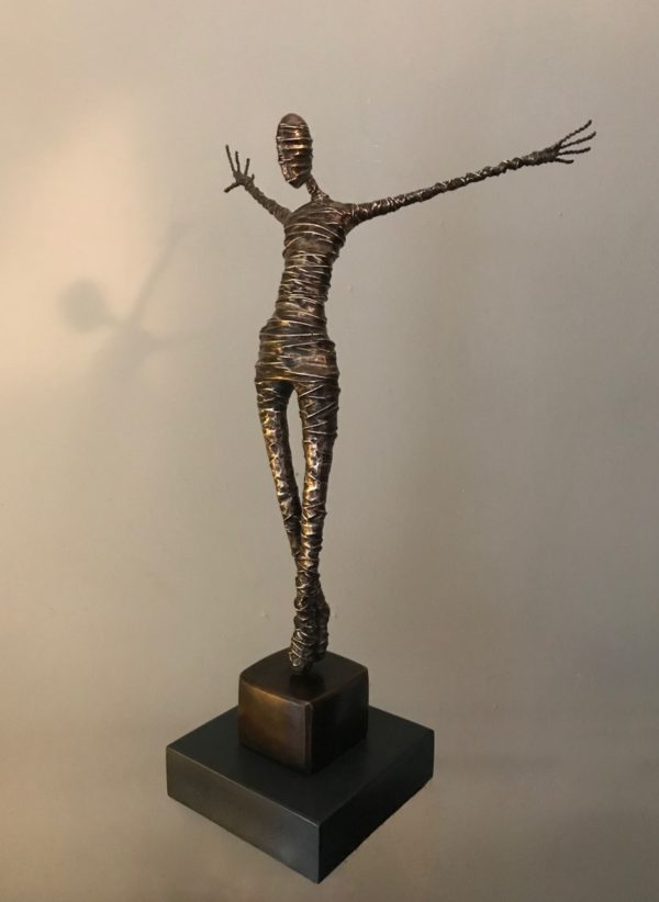 bronze figure lockbund rachel ducker sculpture art